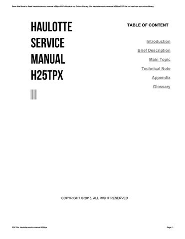 haulotte service manual h25tpx by psles589 issuu rh issuu com Owner's Manual Customer Service Books