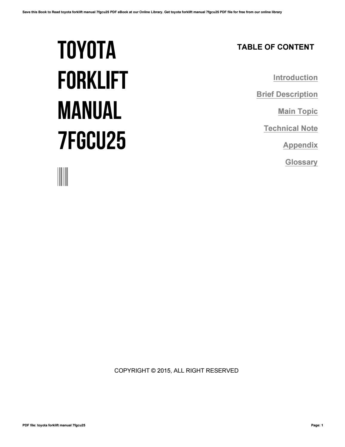 Toyota 7fgcu25 Wiring Diagram Libraries Forklift Pdf Library