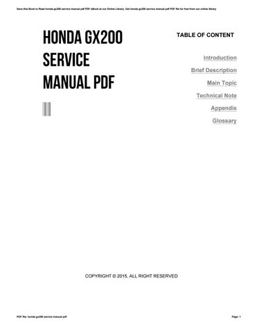 honda gx200 service manual pdf by vssms291 issuu rh issuu com Honda GX200 6.5 HP Manual Honda GX200 Owner's Manual