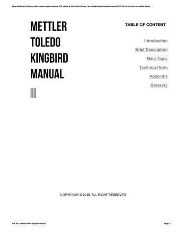 mettler toledo kingbird manual by v424 issuu rh issuu com mettler toledo kingbird service manual mettler toledo kingbird manual