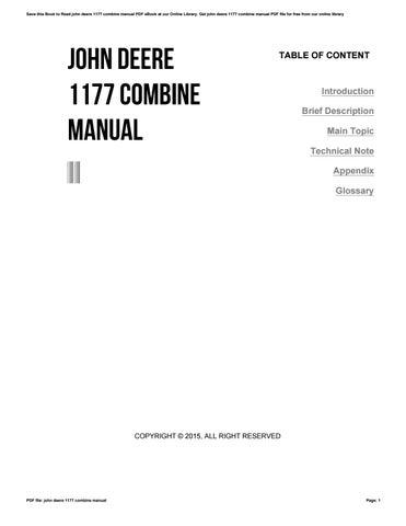 john deere 1177 combine manual by v424 issuu rh issuu com John Deere Online Service Manual John Deere L111 Service Manual
