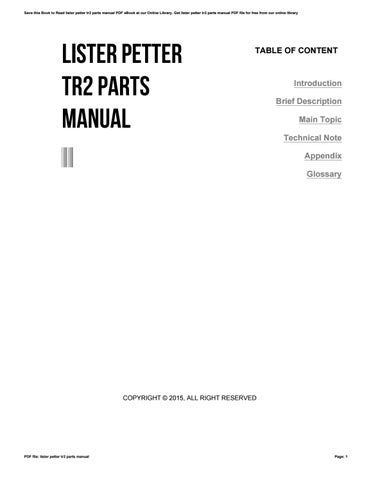 lister petter tr2 parts manual by mdhc34 issuu rh issuu com lister sr2 manual lister tr2 workshop manual