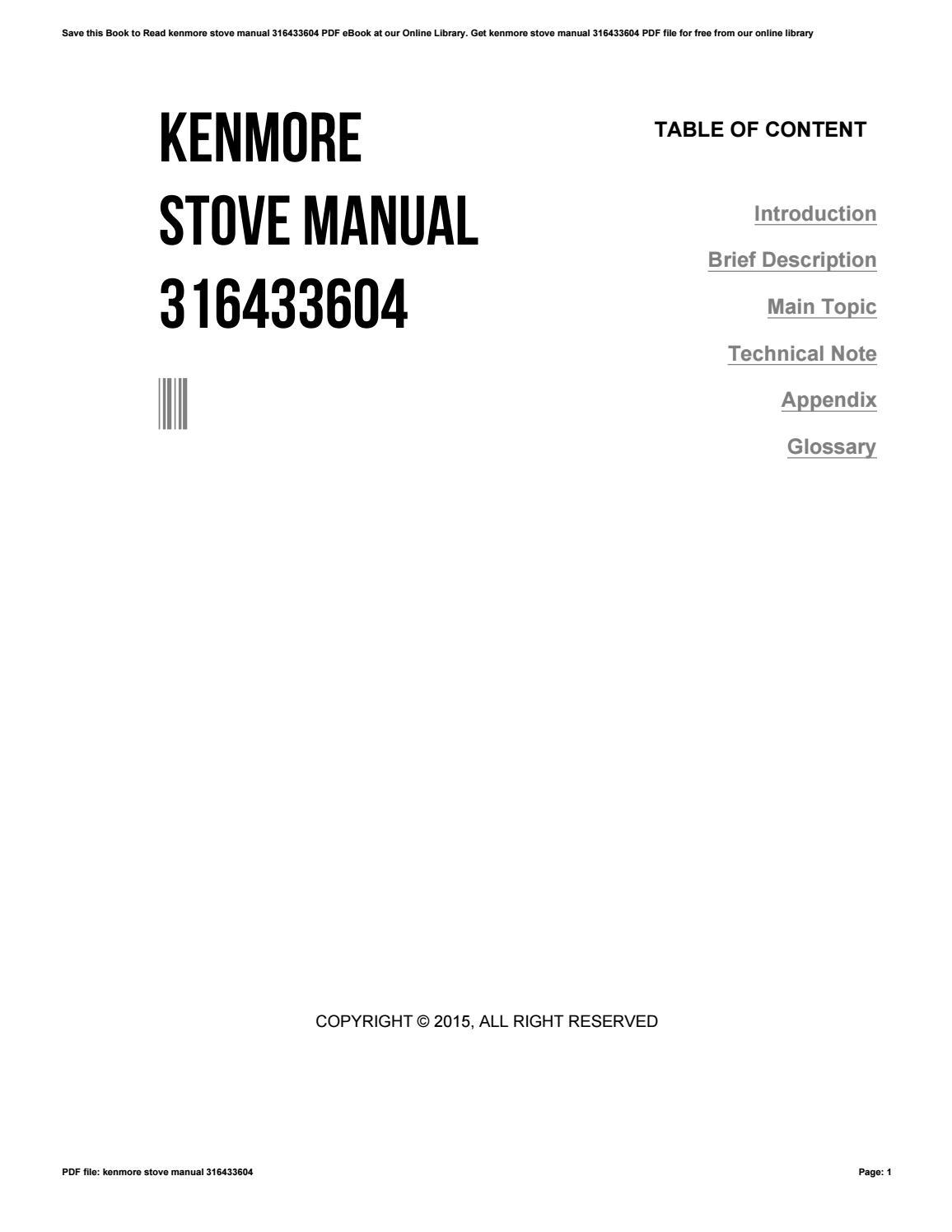kenmore stove manual 316433604