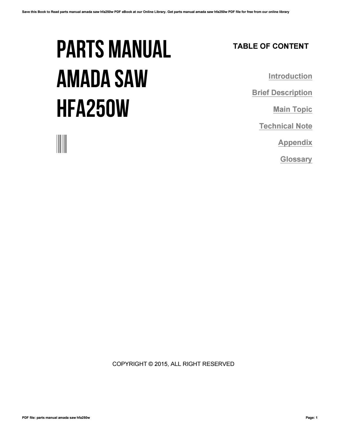Amada User Manuals