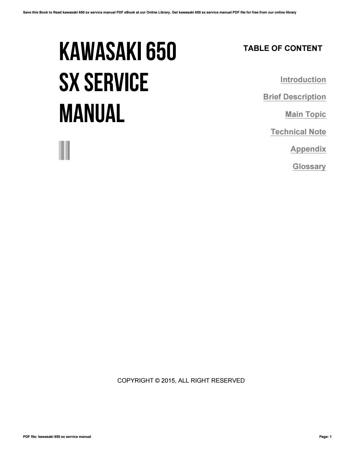 kawasaki 650 sx service manuals