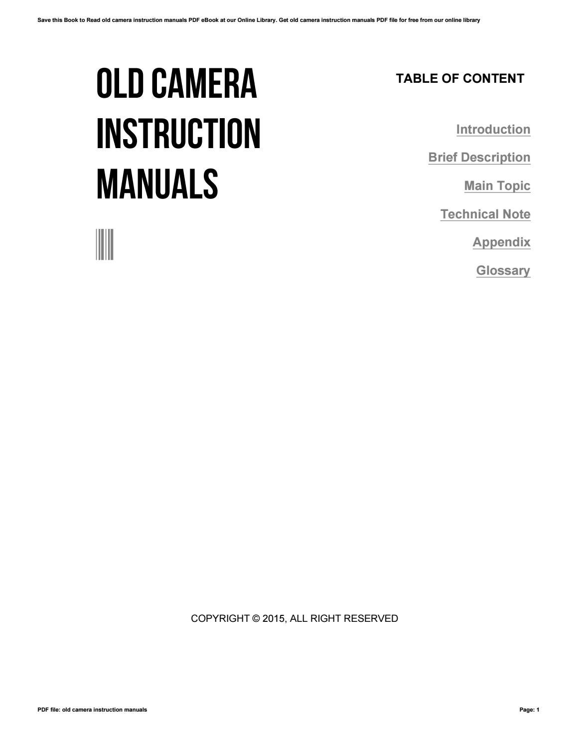 Old Camera Instruction Manuals By 4tb99 Issuu
