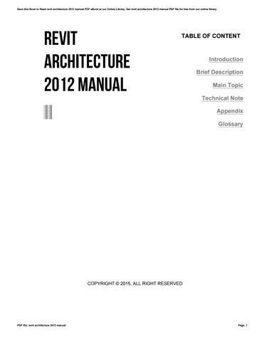 revit architecture 2012 manual by 4tb99 issuu rh issuu com Revit Architecture Tutorials Revit Architecture Tutorials