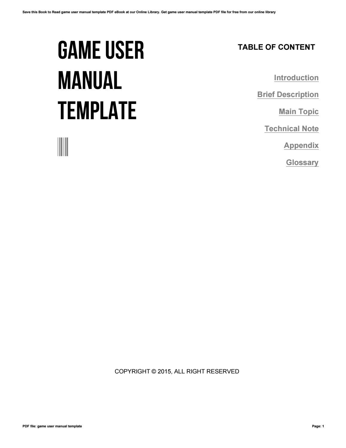 game user manual template by c758 issuu
