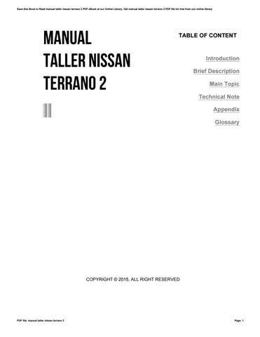 manual taller nissan terrano 2 by o6086 issuu rh issuu com manual de taller nissan terrano 2008 manual de taller nissan terrano ii 2.7 td