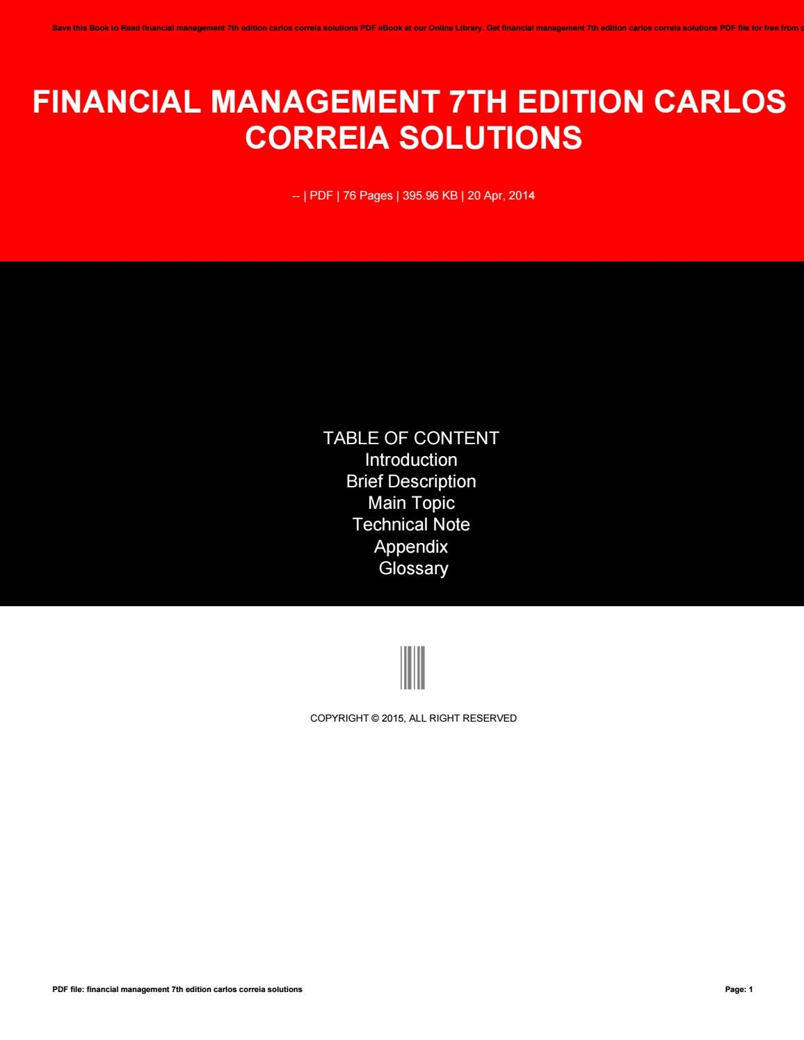financial management 7th edition carlos correia solutions