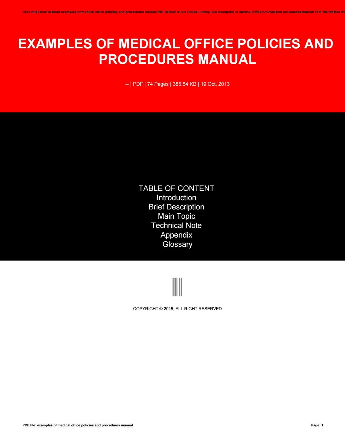 Examples of medical office policies and procedures manual by mail1253 -  issuu