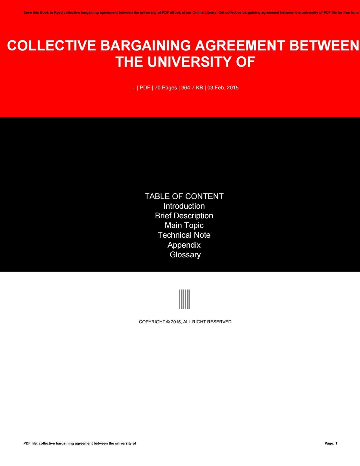 Collective Bargaining Agreement Between The University Of By