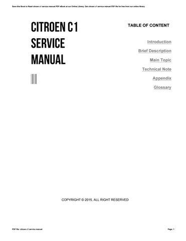 Citroen c1 service manual ebook citroen c1 workshop repair and service manual array citroen c1 service manual by harvard ac uk256 issuu rh issuu com fandeluxe Choice Image
