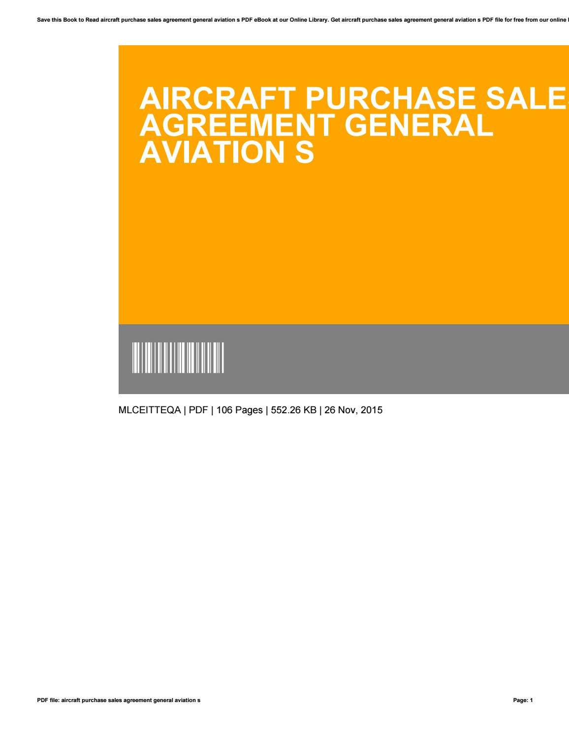 Aircraft Purchase Sales Agreement General Aviation S By Pagamenti2