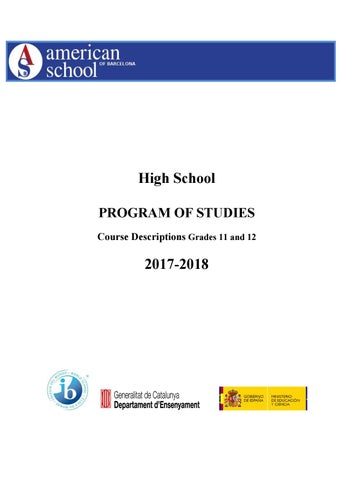 High School Program Of Studies 2017 18 By American School Of
