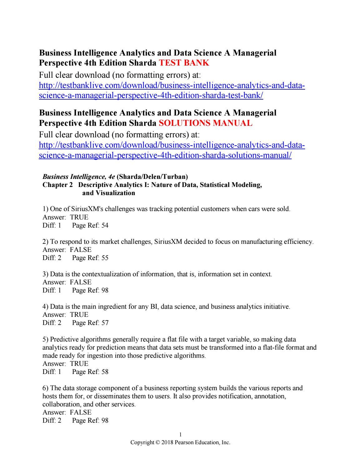 Business intelligence analytics and data science a managerial business intelligence analytics and data science a managerial perspective 4th edition sharda test ba by bentaly issuu nvjuhfo Choice Image