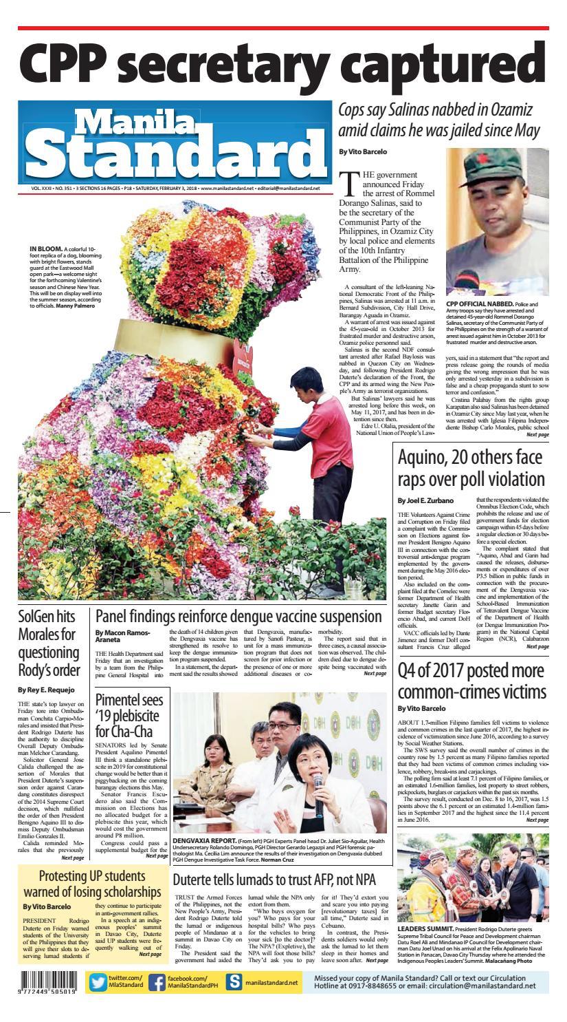 Manila Standard - 2018 February 03 - Saturday by Manila