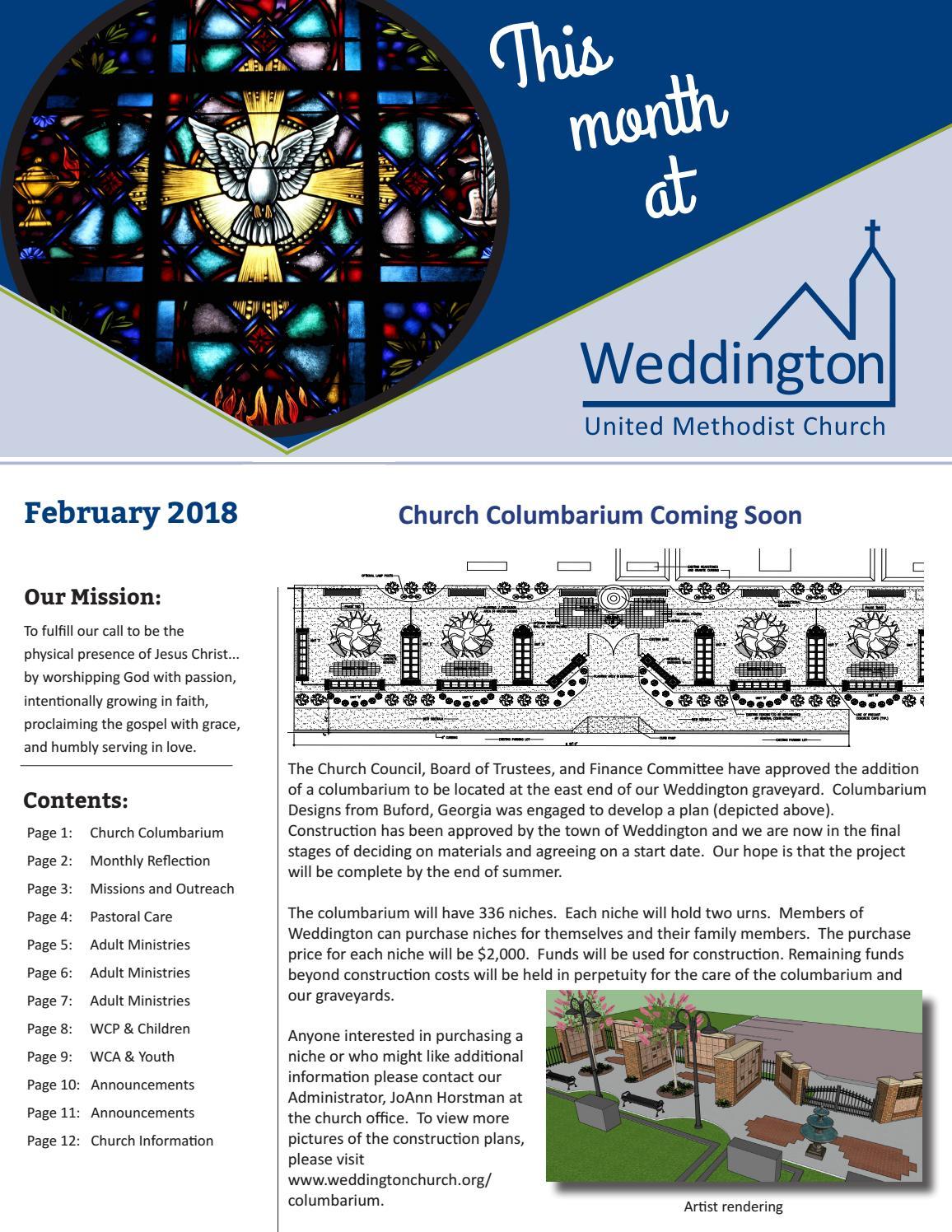 February 2018 Newsletter by Weddington United Methodist