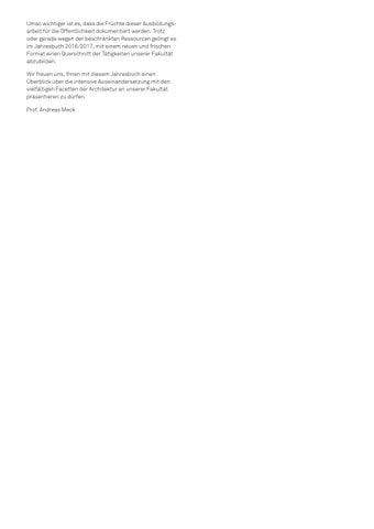 Jahrbuch Fakultät Architektur 2016/2017 by Hochschule München - issuu