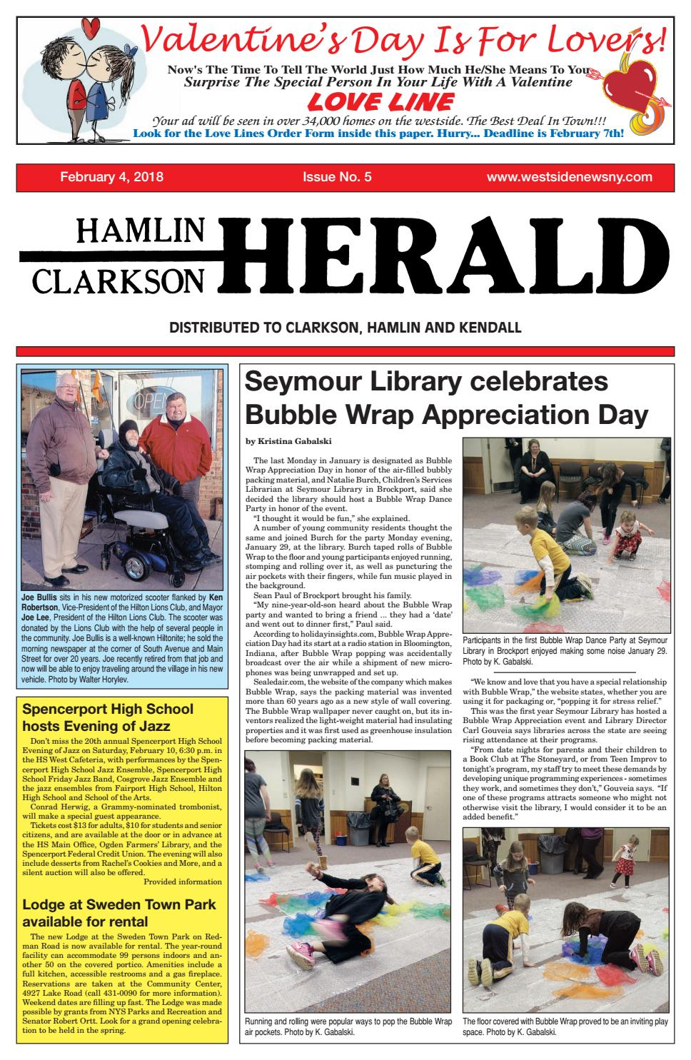 Hamlin Clarkson Herald February 4 2018 By Westside News Inc Issuu Bubble Wrap K