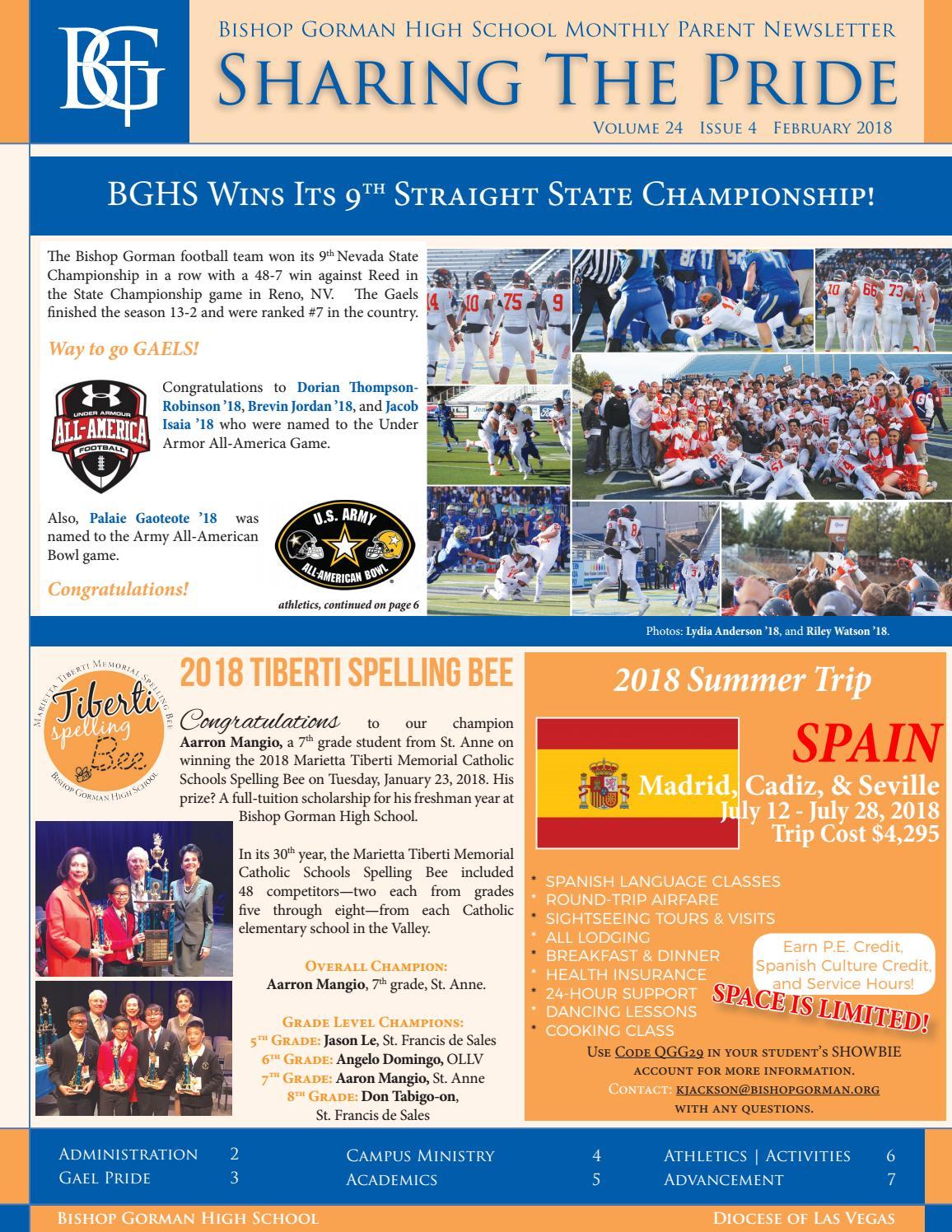 Bishop Gorman High School: Sharing The Pride Newsletter ...