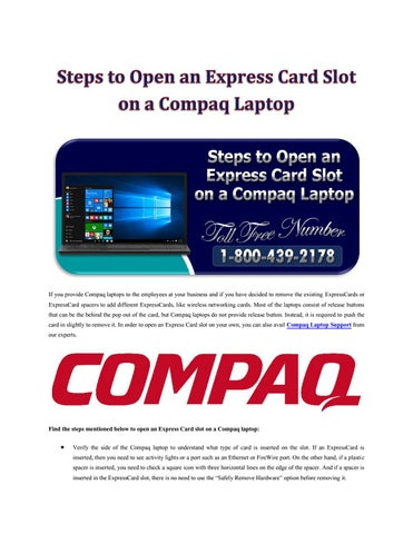 steps to open an express card slot on a compaq laptop by