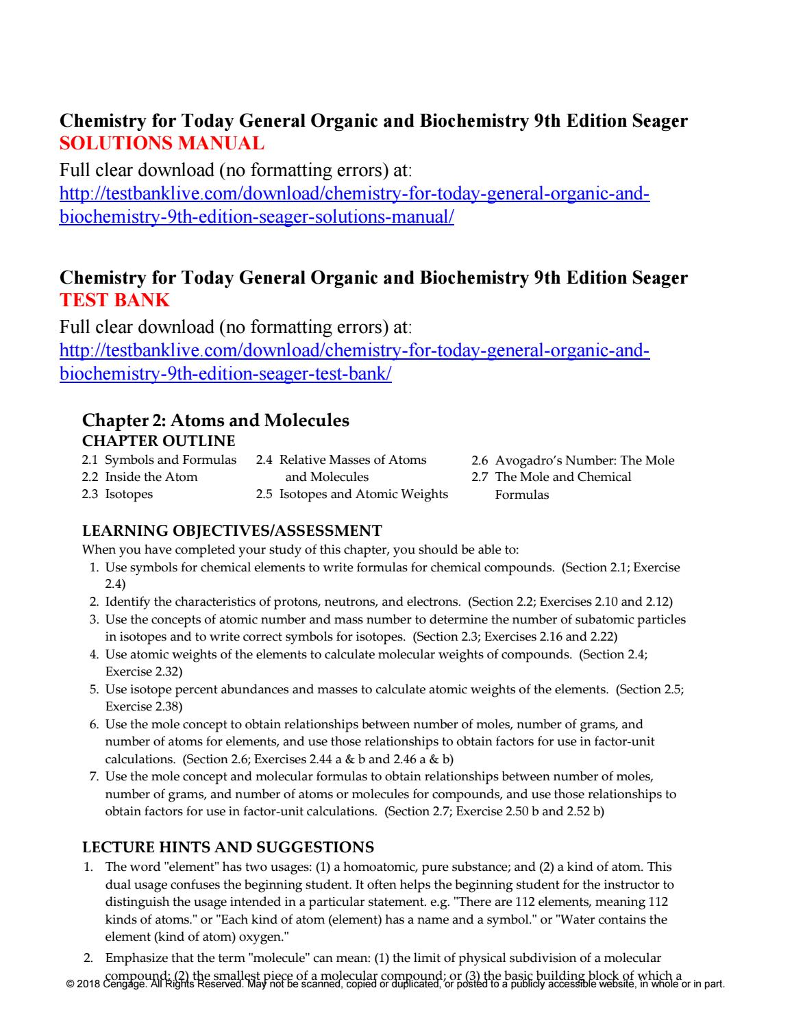 Chemistry for today general organic and biochemistry 9th edition seager solutions  manual by Danila98 - issuu