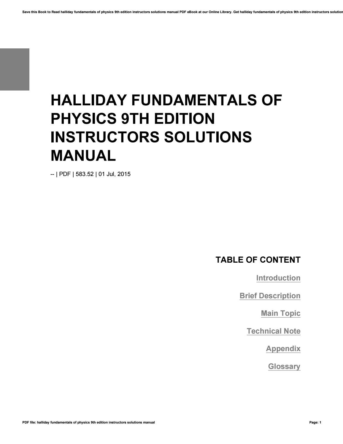 Halliday fundamentals of physics 9th edition instructors solutions manual  by farfurmail86 - issuu