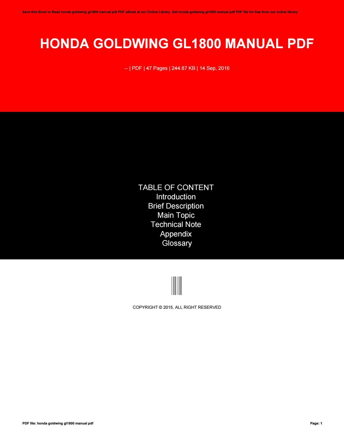 Gl1800 manual pdf.