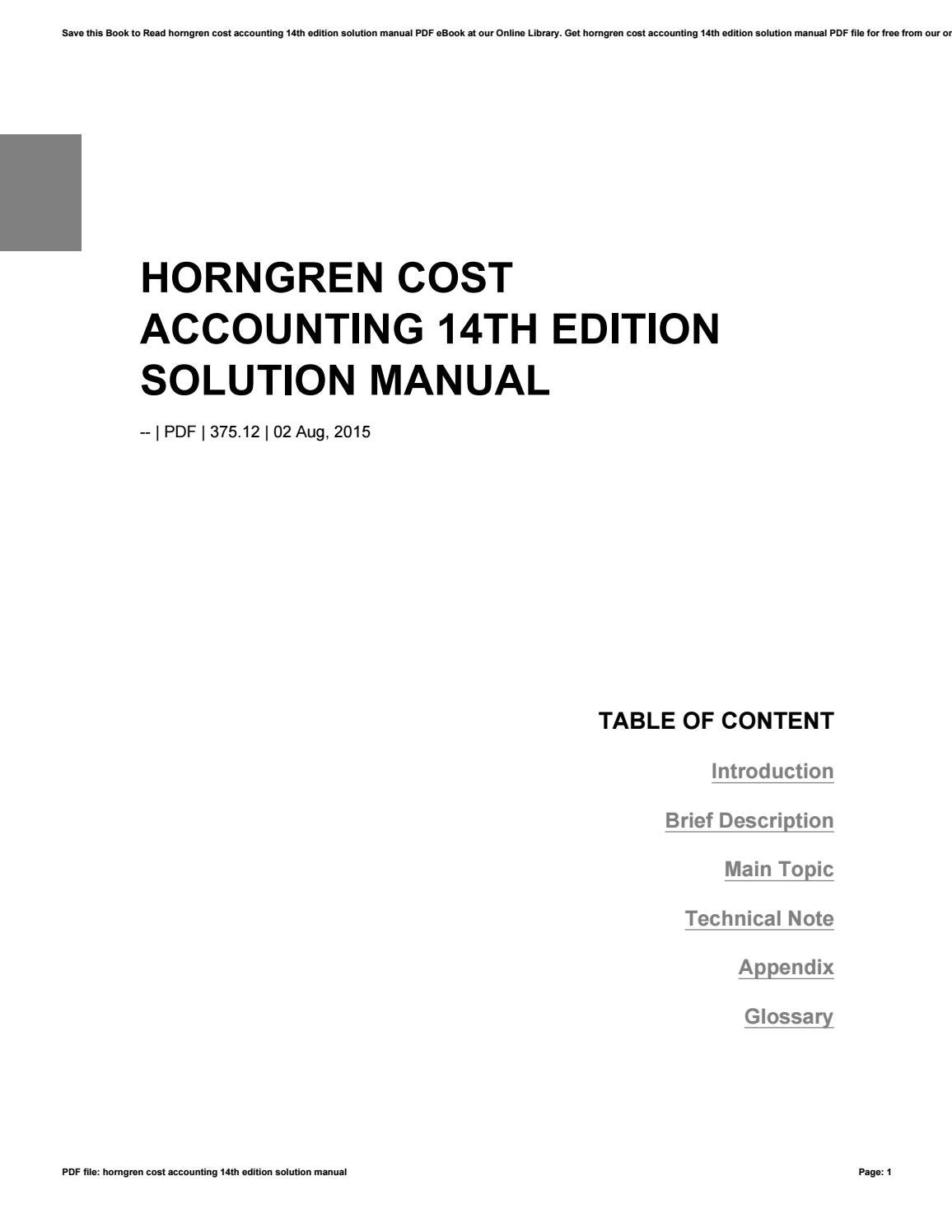 Edition pdf cost accounting 14th carter