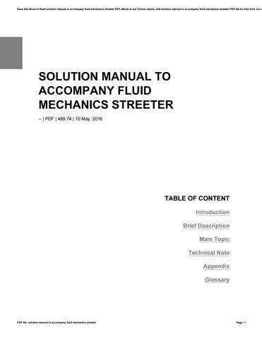 fluid mechanics streeter solution manual
