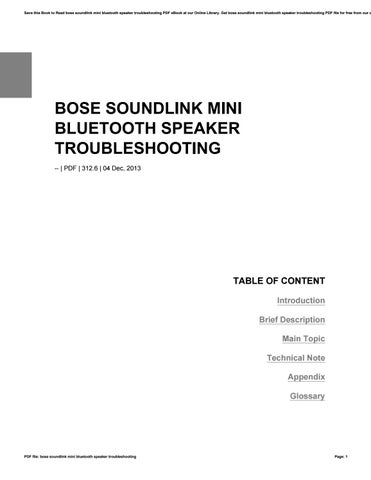 Bose Soundlink Mini Bluetooth Speaker Troubleshooting By O8742 Issuu