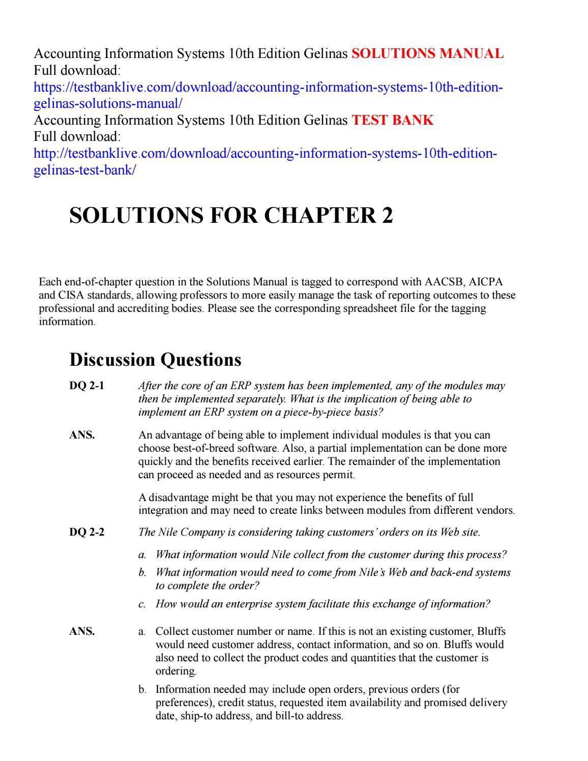 Accounting information systems 10th edition gelinas solutions manual by  garenni - issuu