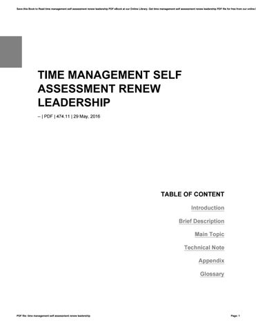 Time management self assessment renew leadership by hezll203 - issuu
