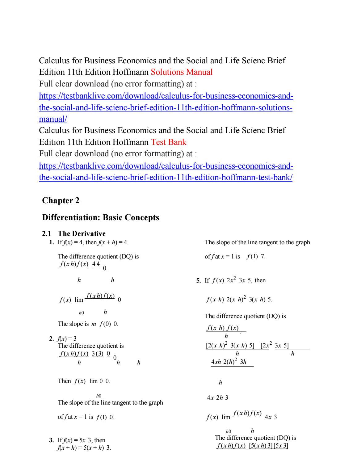 Calculus for business economics and the social and life scienc brief edition  11th edition hoffmann s by hazard333 - issuu
