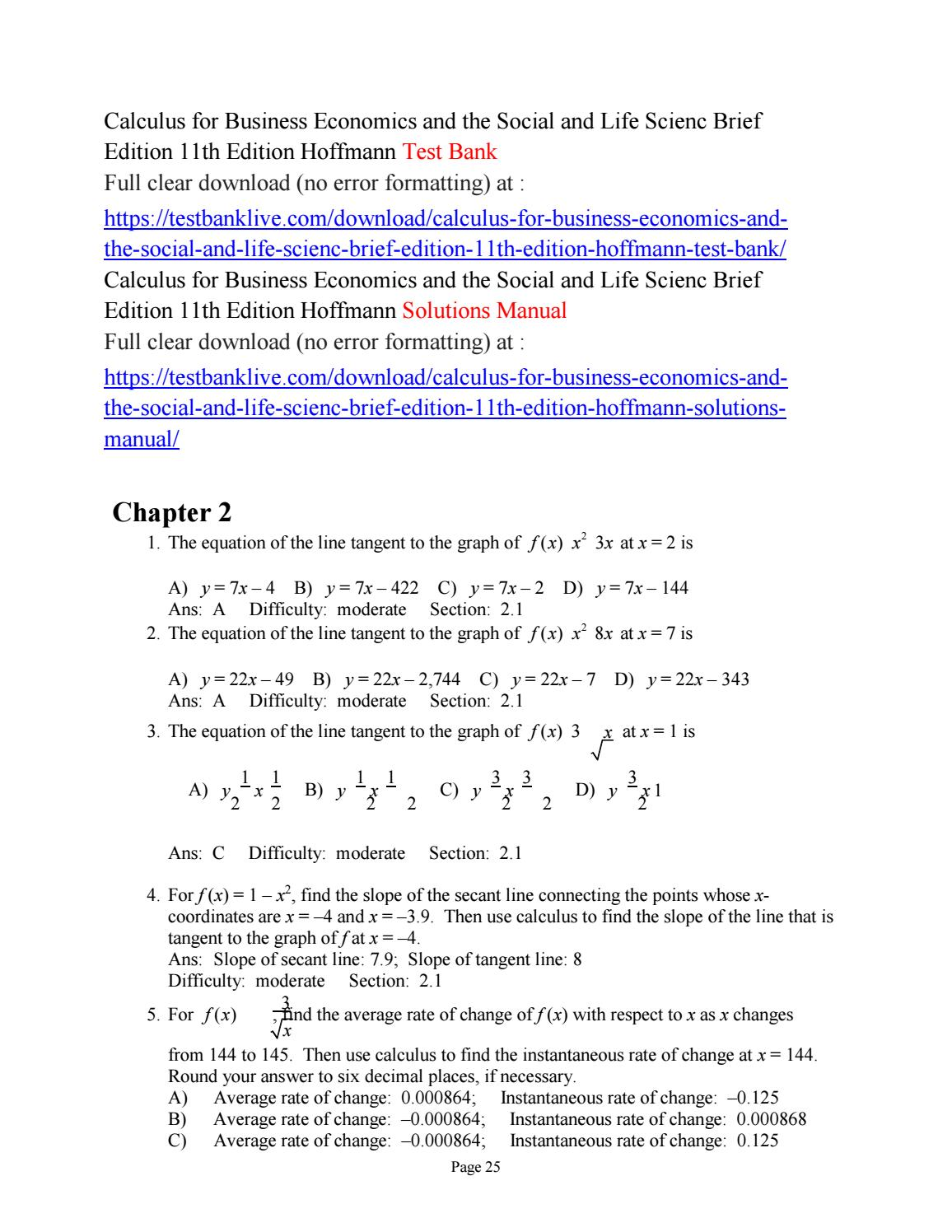 Calculus for business economics and the social and life scienc brief edition  11th edition hoffmann t by anna5551 - issuu