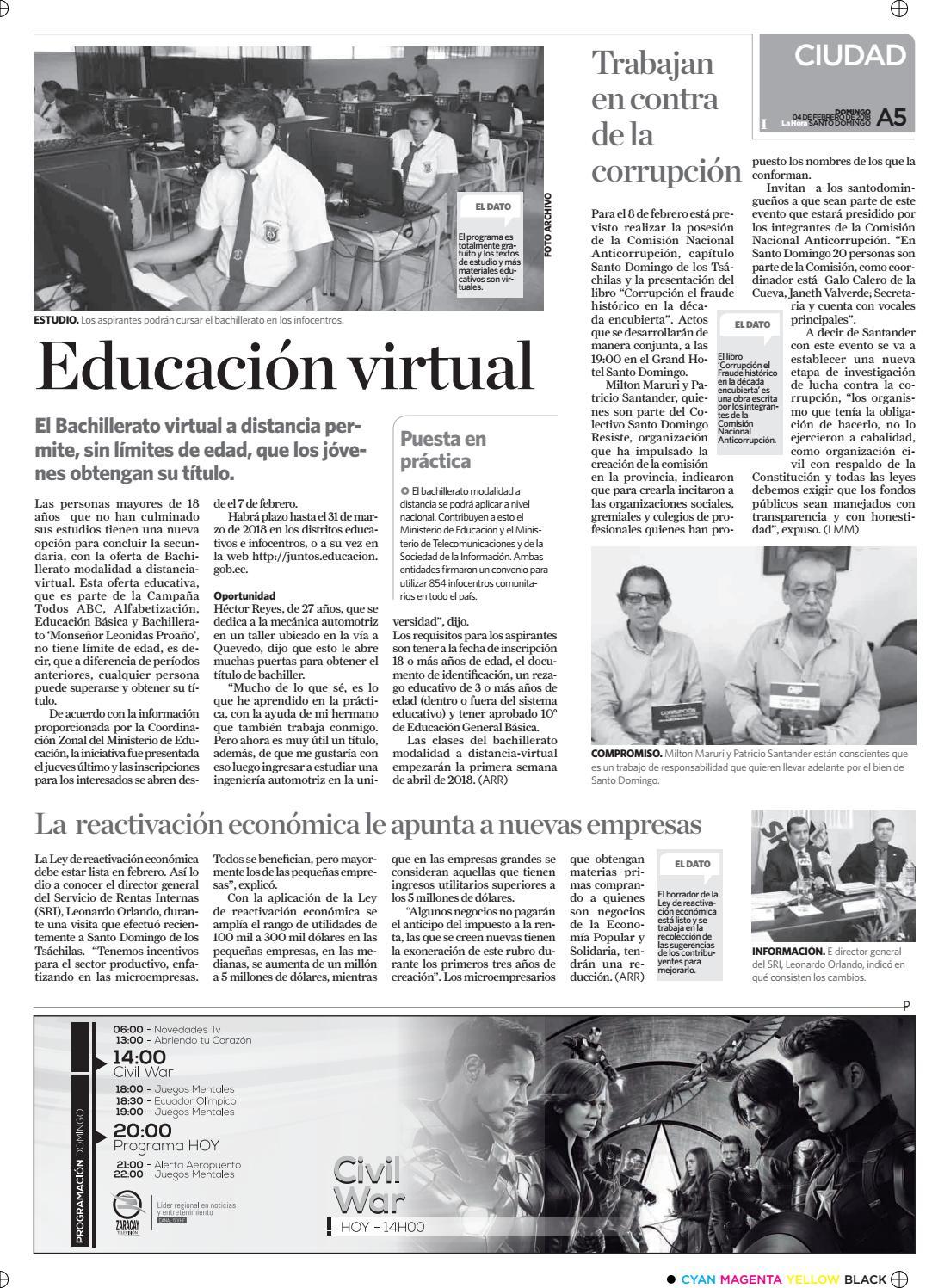 Santo Domingo 04 De Febrero De 2018 By Diario La Hora Ecuador Issuu