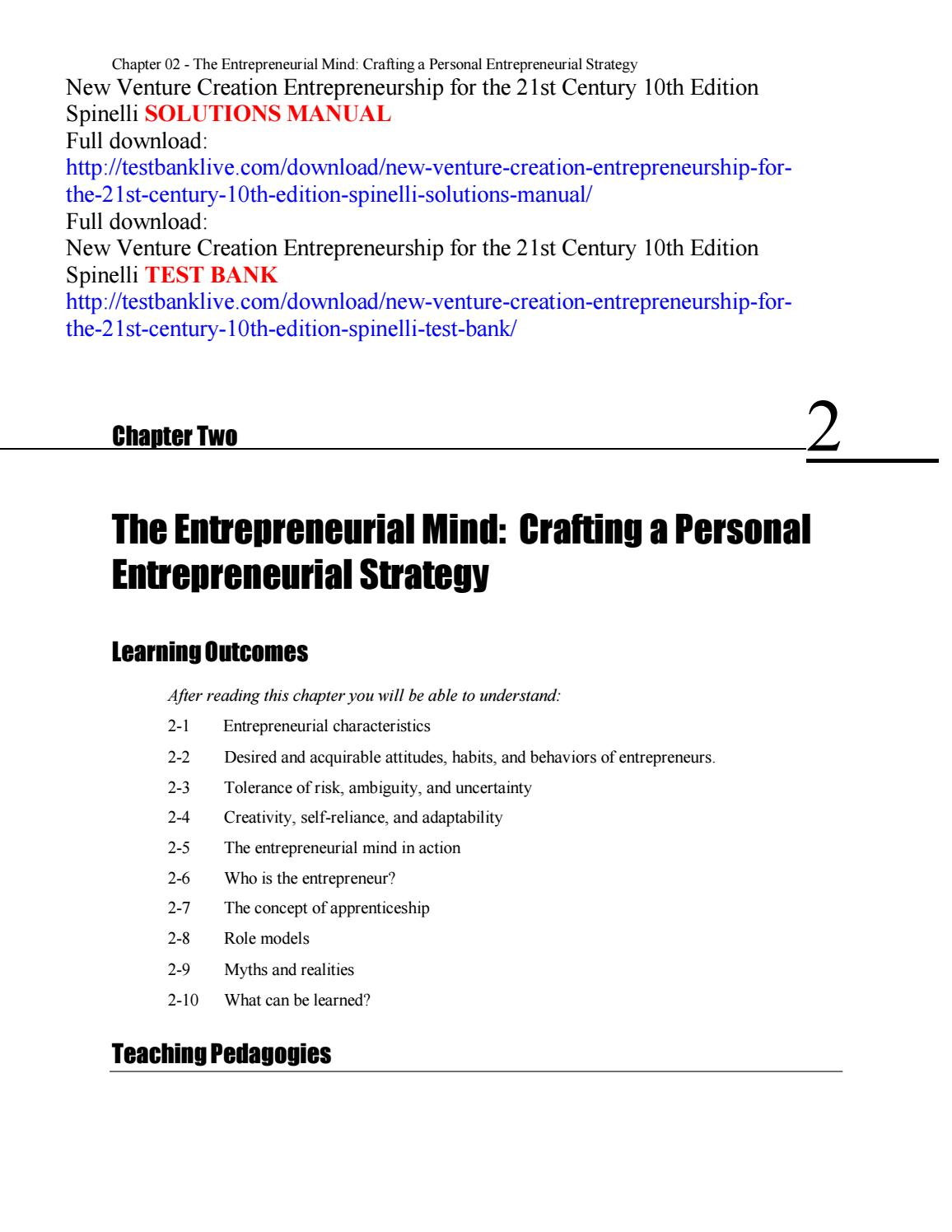 New venture creation entrepreneurship for the 21st century 10th new venture creation entrepreneurship for the 21st century 10th edition spinelli solutions manual by testbanklive3 issuu fandeluxe Image collections
