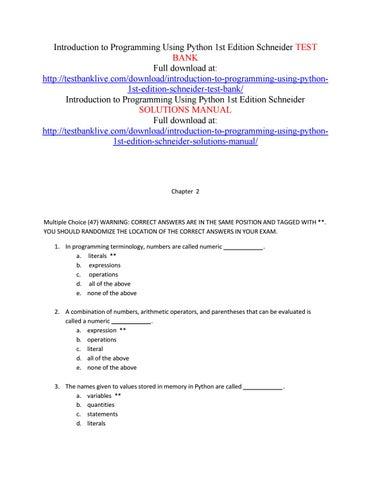 introduction to programming using python 1st edition schneider test rh issuu com Python Logo C Programming
