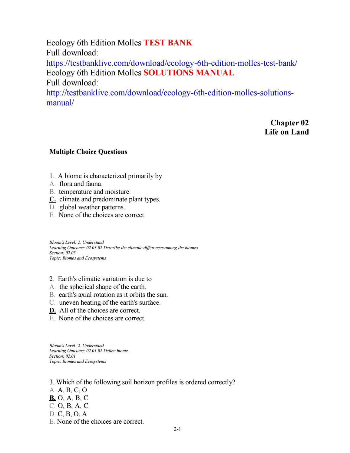 Ecology 6th edition molles test bank by mamoget12 - issuu