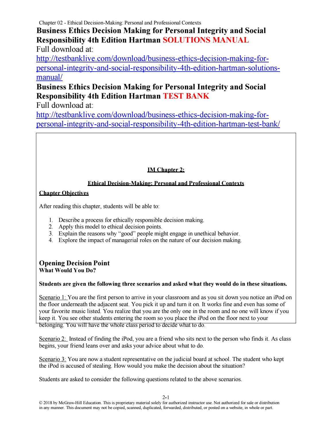 Business ethics decision making for personal integrity and
