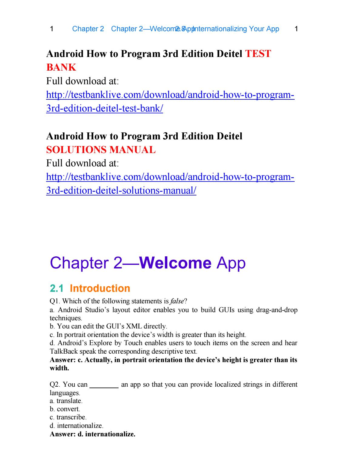 Android how to program 3rd edition deitel test bank by