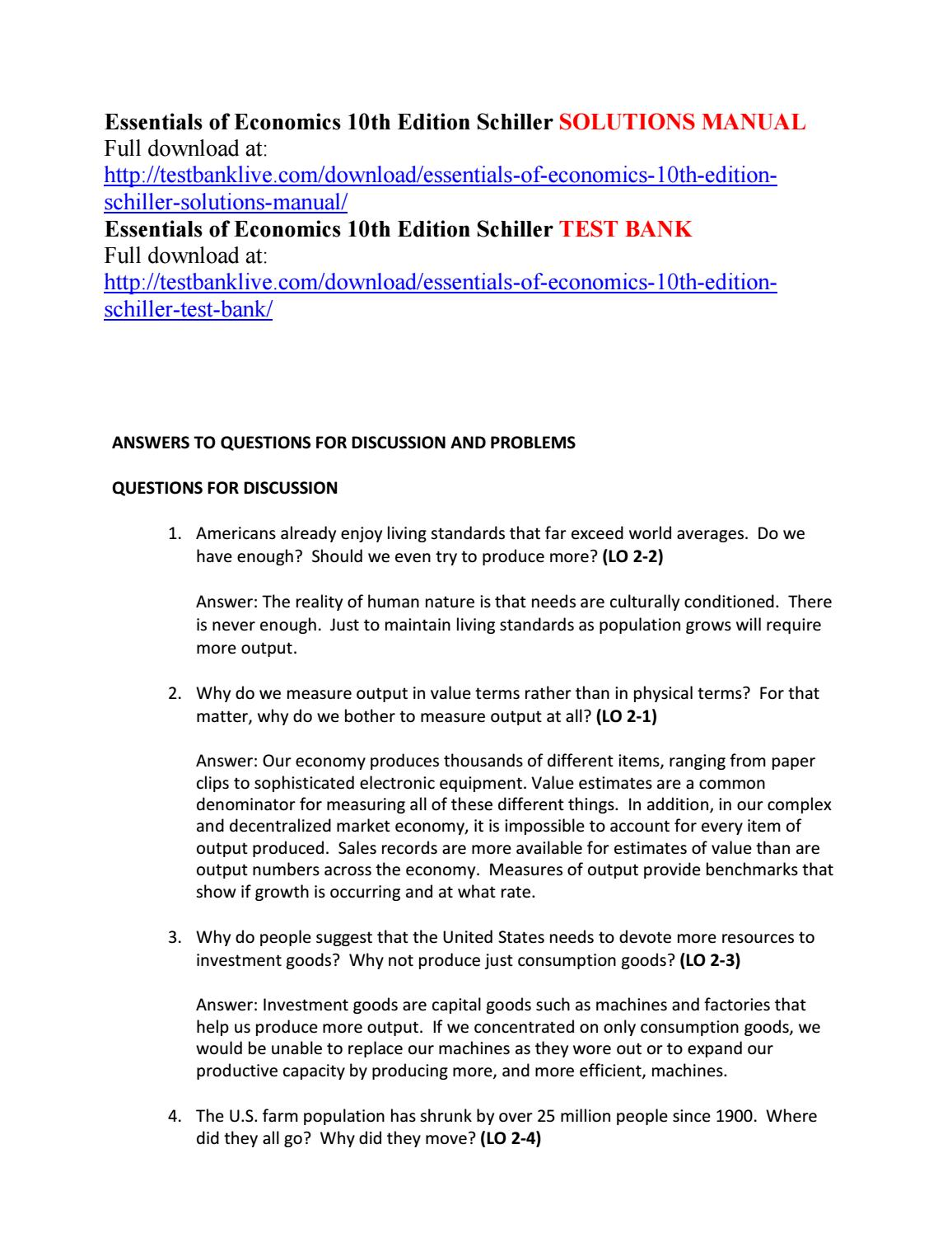 Essentials of economics 10th edition schiller solutions manual by  Aurora1234 - issuu