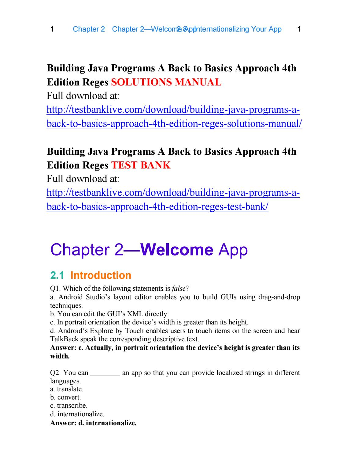 Building java programs a back to basics approach 4th edition reges  solutions manual by Diablo - issuu