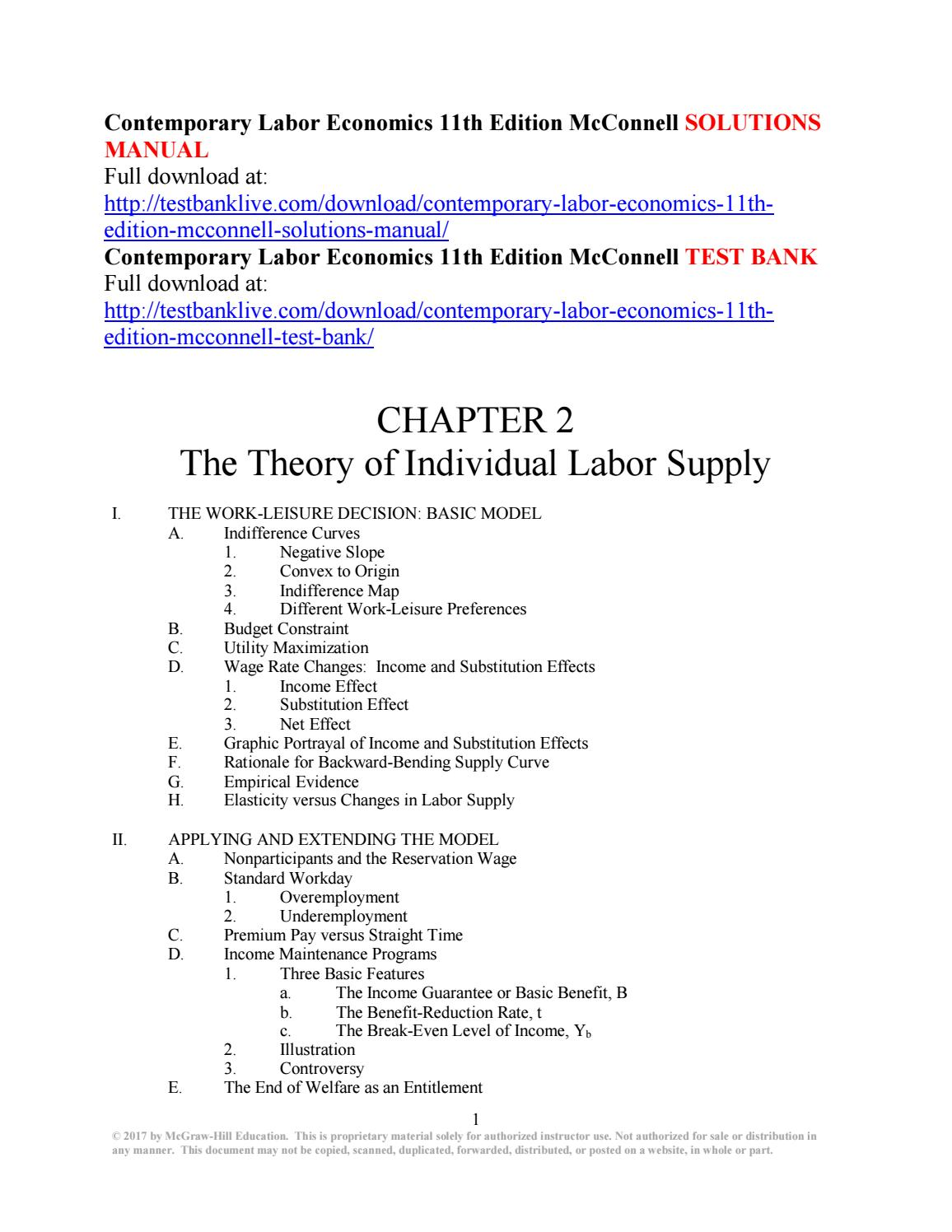 Contemporary labor economics 11th edition mcconnell solutions manual by  Aurora1234 - issuu