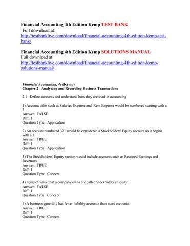 financial accounting 4th edition kemp test bank by mateo333 issuu rh issuu com Manual Journal Manual Journal