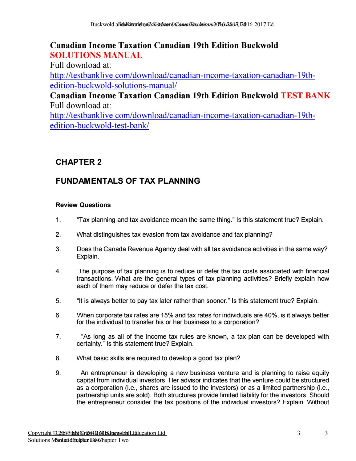 Canadian income taxation canadian 19th edition buckwold solutions manual by  Aurora1234 - issuu
