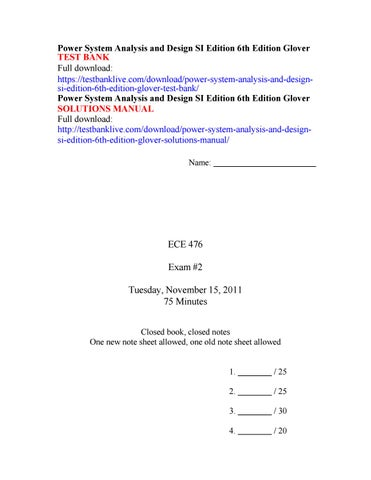 Power System Analysis And Design Si Edition 6th Edition Glover Test Bank By Friedrichsenpratt Issuu