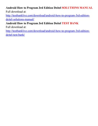 android how to program 3rd edition deitel solutions manual by diablo rh issuu com Paul Deitel Deitel Books