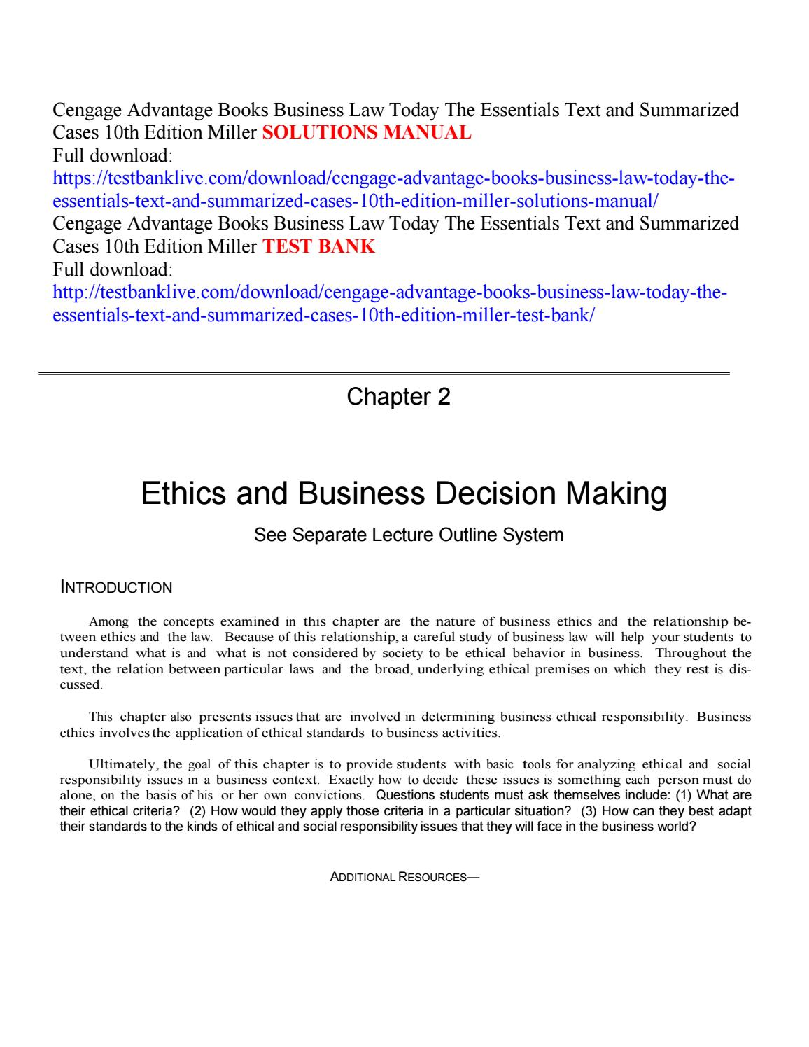 Cengage advantage books business law today the essentials text and